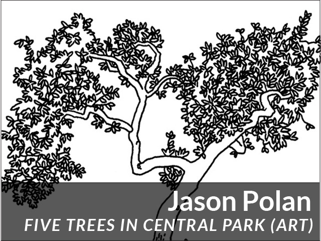 Jason Polan: Five Trees in Central Park