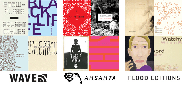 covers for Wave Books, Ahsahta Press, and Flood Editions